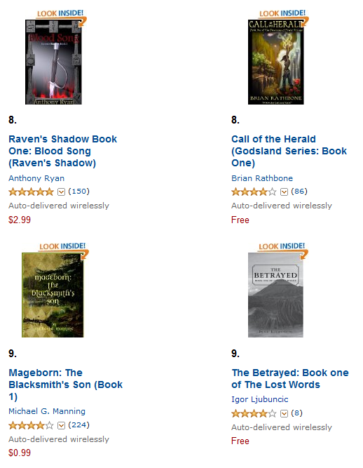 The Betrayed on the Amazon best sellers list