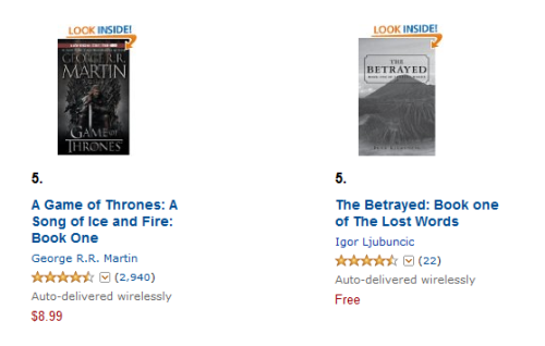 The Betrayed ranking, side by side with Game of Thrones